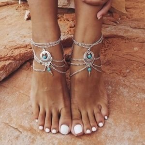 HP 1pc Boho Ethnic Turquoise Barefoot SandalAnklet